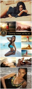 Charming woman and the sea - stock photos