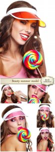 Beauty summer model girl eating colourful lollipop - Stock photo