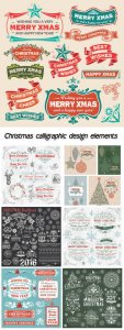 Christmas calligraphic design elements, vector illustration