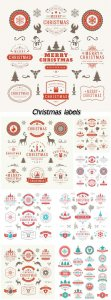 Christmas labels in vector