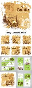 Family vacations, travel, backgrounds vector