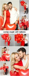 Loving couple with balloons, valentines day